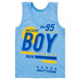 """Майка для мальчика Модель 139-022 Голубая """"BOY"""" размер 56 (рост 86 см) 139-022"""